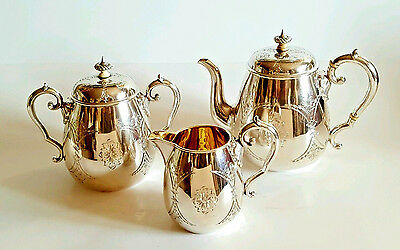 Beautiful 19C Antique Russian Silver Tea Set Gilded 1863