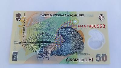 Romania - Unc 50 Lei Banknote Issued 2005 (2016) Polymer #p120 Free Shipping