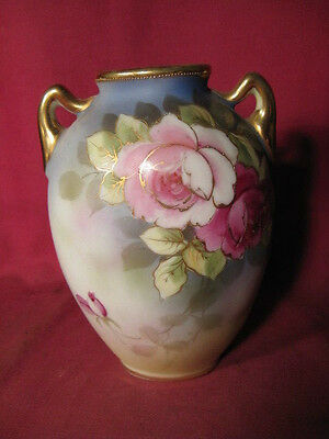 "6"" Tall Antique Nippon Vase w Hand Painted Flowers (as is)"