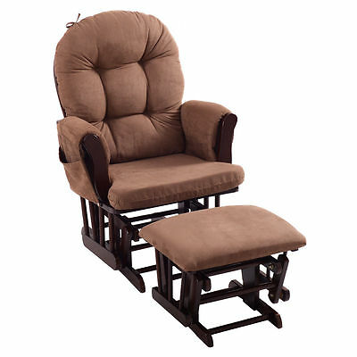 Baby Nursery Relax Rocker Rocking Chair Glider & Ottoman Set w/ Cushion Espresso