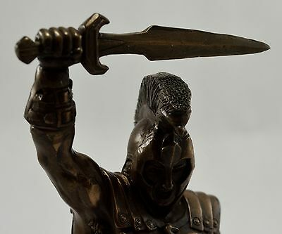 Superb Large Signed Bronze Achilles Figure/Statue with Sword and Spear 28cm