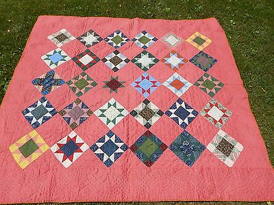 EARLY 8 Point STAR QUILT VINTAGE  19th CENTURY  GRAPHIC  A+   Deep CINNAMON PINK