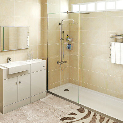 1950mm Walk in 8mm Shower Enclosure Easy Glass CleanScreen Panel Cubicle Tray LB