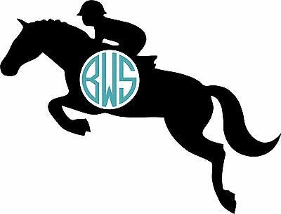Jumping Horse Personalized Monogram VINYL DECAL STICKER for Yeti / RTIC Tumbler