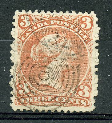 Weeda Canada 25 VF used 3c red Large Queen, part CDS and target cancels CV $50