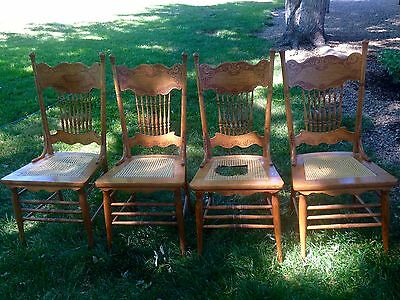 4 Antique pressed back, oak, cane seat chairs