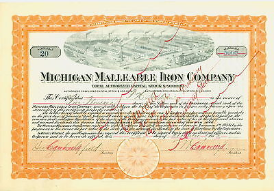 1915 Stock Certificate - Michigan Malleable Iron Company - Vignette of  factory