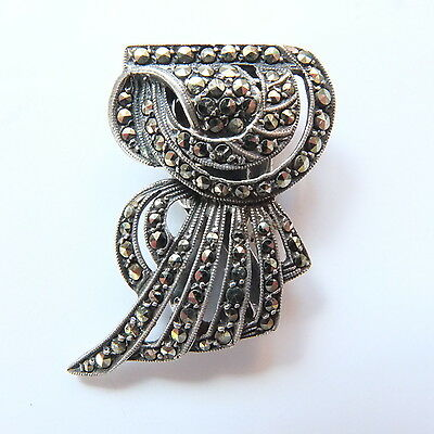Stunning Antique Art Deco Silver and Marcasite Dress Clip Marked SILVER HAND SET