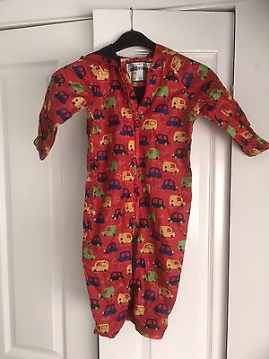 Boys Puddlesuit 12-18 Months Red With Cars From Mothercare