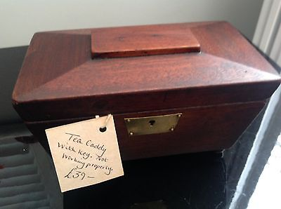 19c mahogany ?  sarcophagus shape tea caddy