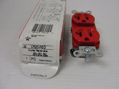 New Pass & Seymour CR20-RED Duplex Receptacle 20A 125V Isolated Ground, Red.