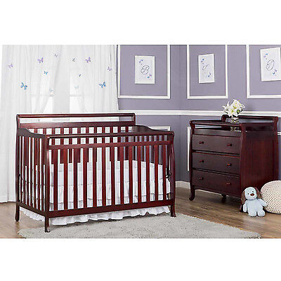 Dream On Me Liberty 5-in-1 Convertible Crib Furniture Bed Baby Cherry
