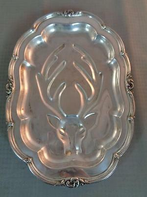 Community Silver Melon Footed Oval Deer Faced Meat Tray