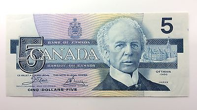 1986 Canada Five 5 Dollars EOJ Series New Bill Note Uncirculated Banknote A985