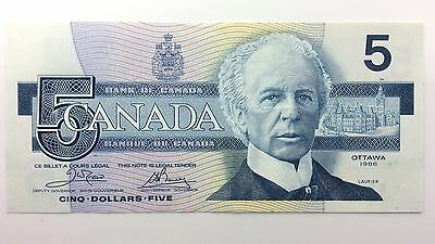 1986 Canada Five 5 Dollars EOK Series New Bill Note Uncirculated Banknote A986