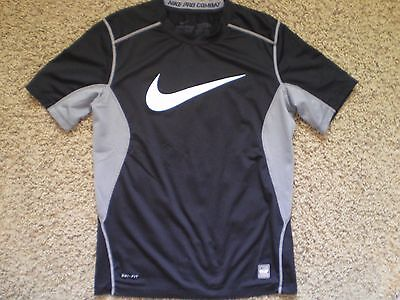 NIKE PRO COMBAT Dri Fit Fitted Black Shirt Size M
