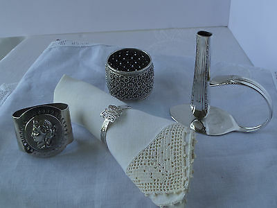 Four Antique Napkin Rings - (3) Silver Plate , (1) Sterling