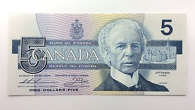 1986 Canada Five 5 Dollars FOF Series New Bill Note Uncirculated Banknote A991