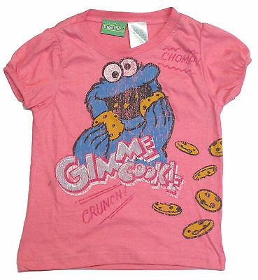 Girls Tee Shirt Toddler Cookie Monster Licensed Character SS Pink Sesame Street
