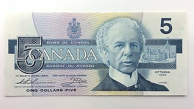 1986 Canada Five 5 Dollars FPJ Series New Bill Note Uncirculated Banknote A992
