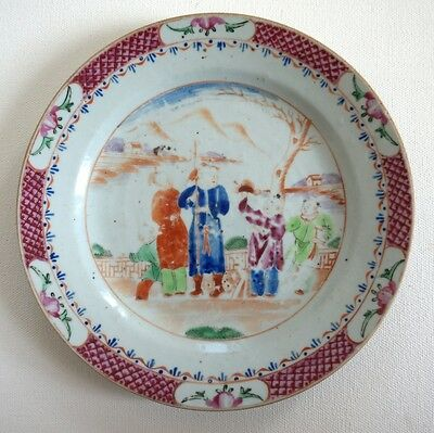 Antique Old Chinese Porcelain Famille Rose Export Plate