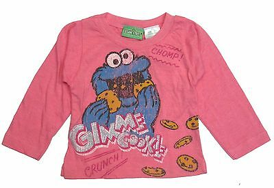 Sesame Street Girl T- Shirt Toddler Long Sleeve Cookie Monster Clarence