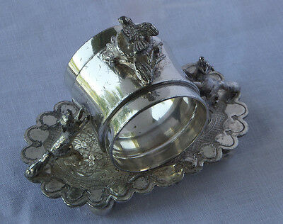 Nesting Bird & Foxes Silver Plate Napkin Ring - Wilcox Silver Plate #01534