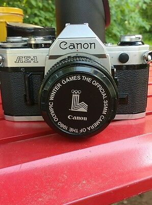 Canon AE-1 35mm with Canon 50mm 1:1.8 lens 1980 Winter Olympics Cap