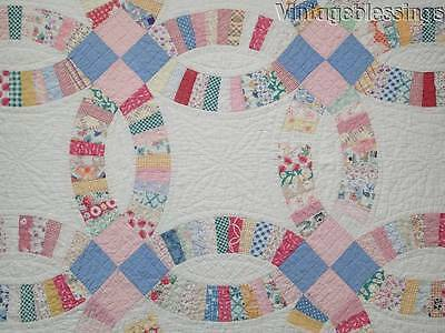 "Beautiful Feedsacks! Vintage 30s Wedding Ring QUILT 101"" x 69"""
