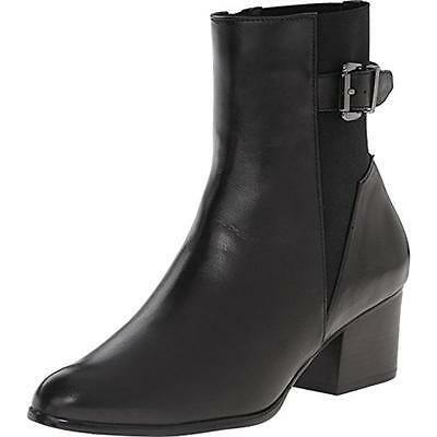 VANELi 4822 Womens Catina Black Leather Ankle Boots Shoes 10 Medium (B,M) BHFO