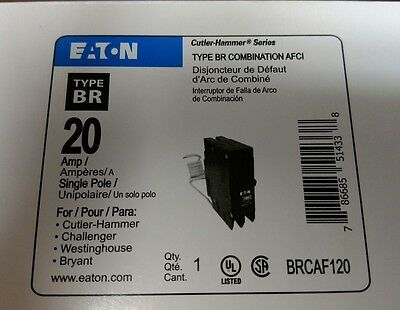 NEW Eaton Cutler Hammer BRCAF120 Single Pole Type BR Arc Fault Circuit Breaker