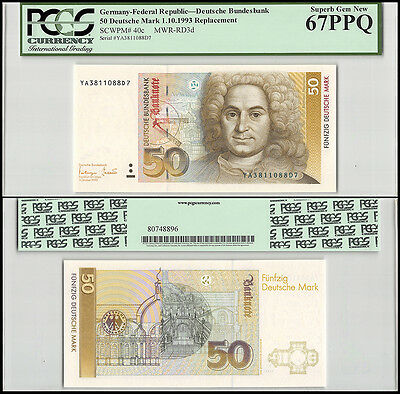Germany 50 Deutsche Mark, 1993, P-40c, UNC, REPLACEMENT, PCGS 67 PPQ