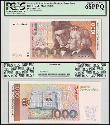 Germany 1,000 (1000) Deutsche Mark, 1991, P-44a, UNC, PCGS 68 PPQ
