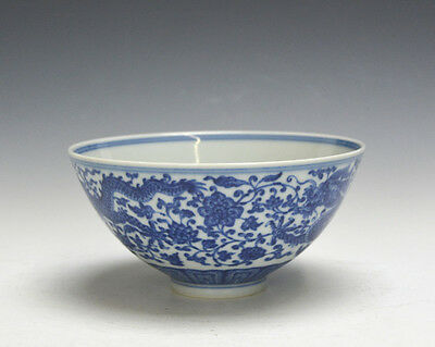 Antique Chinese Blue and White Double Dragon Porcelain Bowl