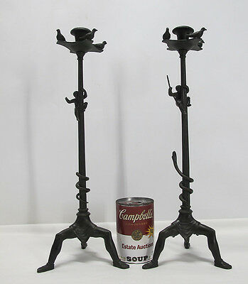 19th c Antique Etruscan Revival Pair (2) of Bronze Candlesticks Thymiaterion yqz