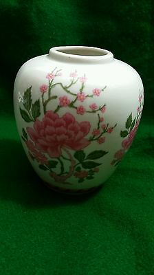 Mingei Handcrafted Porcelain Vase Hand Painted Pink Flowers