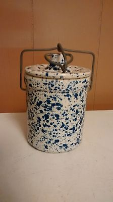 White Blue Speckled Cheese Crock With Lid and Wire Bale Butter Stoneware