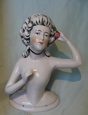 LaRgE~ANTIQUE GERMAN*FIGURAL POMPADOUR LADY PIN CUSHION DOLL*GERMANY HALF DOLL