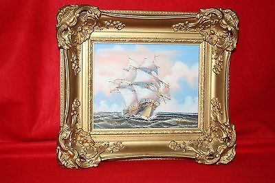 Original K. Dossi Oil Painting Ship at Sea Signed 8 x 10