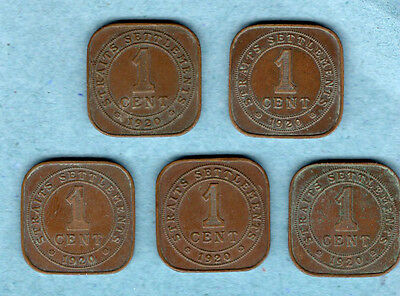 5 Coin Lot 1 Cent Straits Settlements 1920 Singapore Malacca Penang Dinding