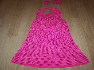 Adult Size Medium Algy Solid Pink Sequined Tap Jazz Dance Top & Hair Scrunchies