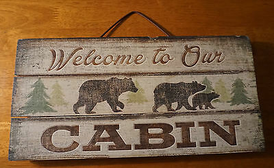 Welcome To Our Cabin Sign Black Bear Cubs Rustic Lodge Wood Plank Home Decor