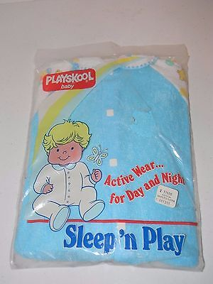 VTG 1986 Playskool Baby Sleep n Play Baby Blue Sleeper New Sz Med 13-17lbs