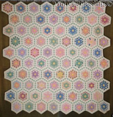 "TINY PIECES Fussy Cut VINTAGE 30s Flower Garden QUILT 83"" x 79"""