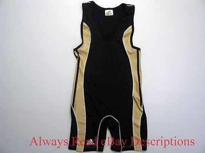 ADIDAS USA WRESTLING SINGLET -Navy/Gold Stretch Compression- Size AS Adult Small