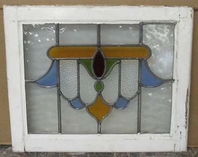 "OLD ENGLISH LEADED STAINED GLASS WINDOW Very Pretty Swag 20.75"" x 17.25"""