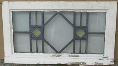 "OLD ENGLISH LEADED STAINED GLASS WINDOW Pretty Geometric Abstract 22.5"" x 12.5"""