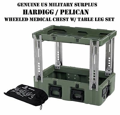 HARDIGG PELICAN US MILITARY WHEELED MEDICAL CHEST #3 w/ LEGS SET FIELD TABLE NOS