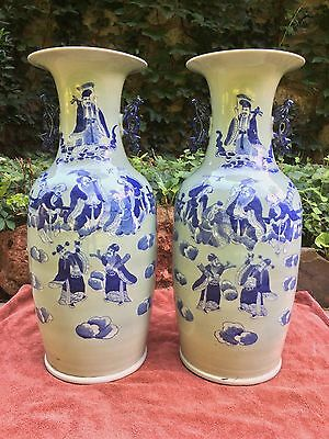 2 HUGE Antique 19 C Chinese Porcelain Blue and White Celadon Immortal Vases 23""