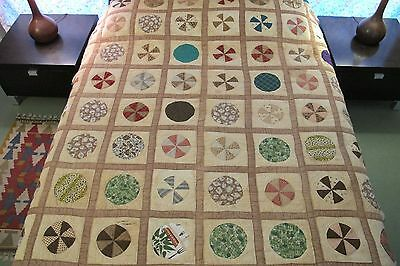 FOR RESTORATION Vintage ANTIQUE Pre Feed Sack Cotton MOON & STARS QUILT, Full
